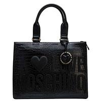 Черная сумка Love Moschino с тиснением под рептилию, фото