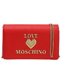 Красная сумка Love Moschino с золотым сердцем, фото