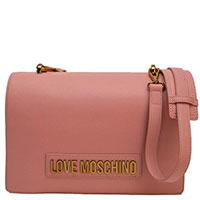 Розовая сумка Love Moschino с ручкой на цепочке, фото
