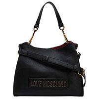 Черная женская сумка Love Moschino с металлическим логотипом, фото