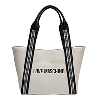 Белая женская сумка Love Moschino с черными вставками, фото