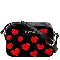 Черная сумка Love Moschino с красными сердцами, фото