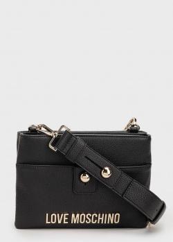 Черная сумка Love Moschino с брендовым декором, фото
