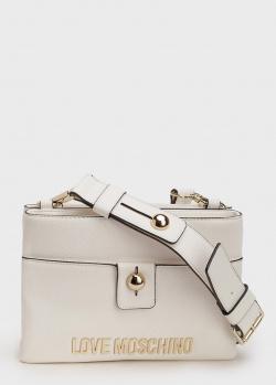 Прямоугольная сумка Love Moschino белого цвета, фото