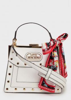 Белая сумка Love Moschino трапециевидной формы, фото