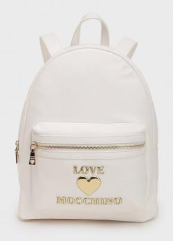 Белый рюкзак Love Moschino с накладным карманом, фото