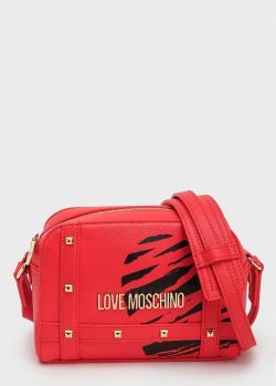 Сумка с принтом Love Moschino красного цвета, фото