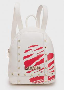 Белый рюкзак Love Moschino с декором-заклепками, фото