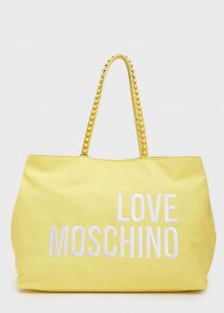 Сумка-шоппер Love Moschino желтого цвета, фото