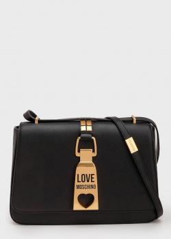 Черная сумка Love Moschino с золотистым декором, фото
