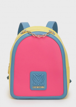 Разноцветный рюкзак Love Moschino с ручкой-цепочкой, фото