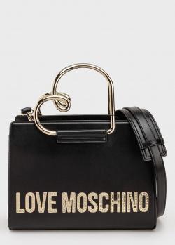 Черная сумка Love Moschino с ручкой в виде сердца, фото