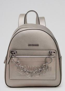 Рюкзак цвета бронзы Love Moschino с декором-цепочкой, фото