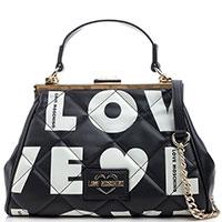 Черная сумка-тоут Love Moschino с лого, фото
