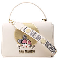 Бежевая сумка флеп-бег Love Moschino c декором, фото
