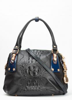 Черная сумка Marino Orlandi с тиснением кроко, фото