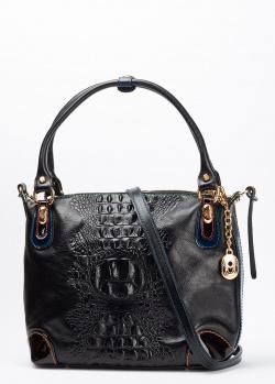 Деловая сумка Marino Orlandi из черной кожи с тиснением, фото