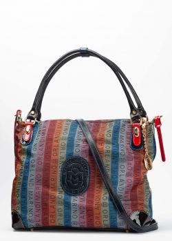 Сумка-тоут Marino Orlandi из текстиля в полоску, фото