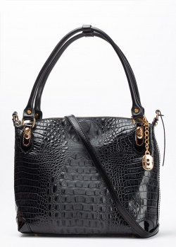 Черная сумка Marino Orlandi с тиснением кроко и золотистой фурнитурой, фото