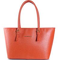 Кожаная сумка-шоппер Di Gregorio оранжевого цвета, фото