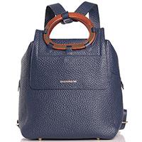 Синий рюкзак Di Gregorio из зернистой кожи, фото