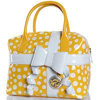 Лаковая желтая сумка в белый горох Braccialini Tuo с бантом, фото