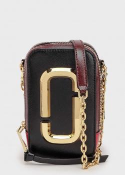 Черная сумка Marc Jacobs The Hot Shot с бордовым вставками, фото