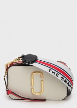 Белая сумка Marc Jacobs The Snapshot на широком ремне, фото