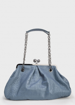 Женская синяя сумка Max Mara Weekend Pasticcino с тиснением под рептилию, фото