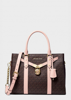 Коричневая сумка Michael Kors Nouveau Hamilton с монограммой бренда, фото