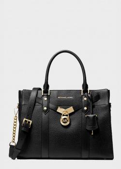 Черная сумка Michael Kors Nouveau Hamilton с фирменным декором, фото