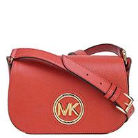 Красная сумка Michael Kors с золотистым логотипом, фото