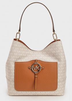 Бежевая сумка Michael Kors Amy с коричневым карманом, фото