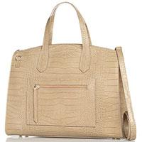 Деловая сумка Marina Volpe из кожи бежевого цвета, фото