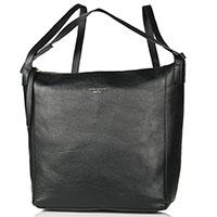 Черная сумка-рюкзак Marina Volpe из фактурной кожи, фото
