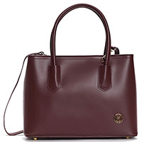 Женская сумка-тоут Marina Volpe из кожи бордового цвета, фото