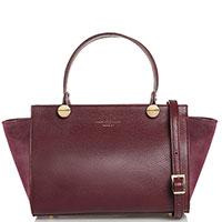 Бордовая сумка-тоут Marina Volpe со съемный ремнем, фото