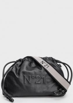 Черная сумка-мешок N21 Eva с брендовым тиснением, фото