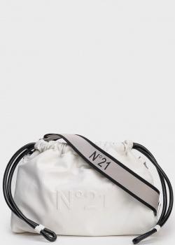 Белая сумка-мешок N21 Eva на широком ремне, фото