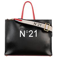 Сумка-шоппер N21 с брендовым принтом, фото