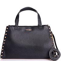 Черная сумка из зернистой кожи Twin-Set с элементами с животным принтом, фото