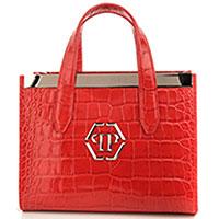 Красная сумка Philipp Plein Handle-small Statement с металлический декором, фото