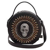 Черная сумка Philipp Plein с декором в виде черепа и шипов, фото