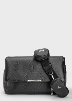 Черная сумка Philipp Plein на широком ремне, фото