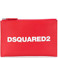 Красный клатч Dsquared2 с логотипом, фото