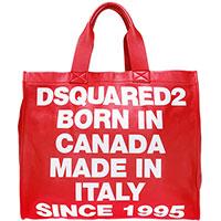 Красная сумка-шоппер Dsquared2 из зернистой кожи, фото