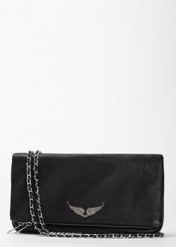Клатч из кожи Zadig & Voltaire с декором в виде крыльев, фото