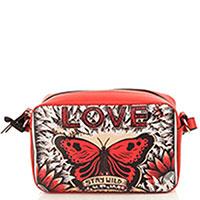 Красная сумка Red Valentino Loveblade с принтом-бабочкой, фото
