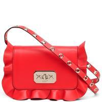 Красная сумка-кроссбоди Red Valentino Rock Ruffles с декором-рюшами, фото