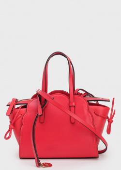 Красная сумка Red Valentino с золотистым логотипом, фото